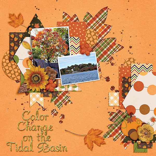 One of my favorite things to do with leaves on a digital scrapbooking layout is to cut them out into the page with a patterned background behind it. This is a great example of that! You could also get this effect by overlaying your favorite paper on top of a leaf you like in a kit (or shape in your program). Then shadow it to look like a cut out.