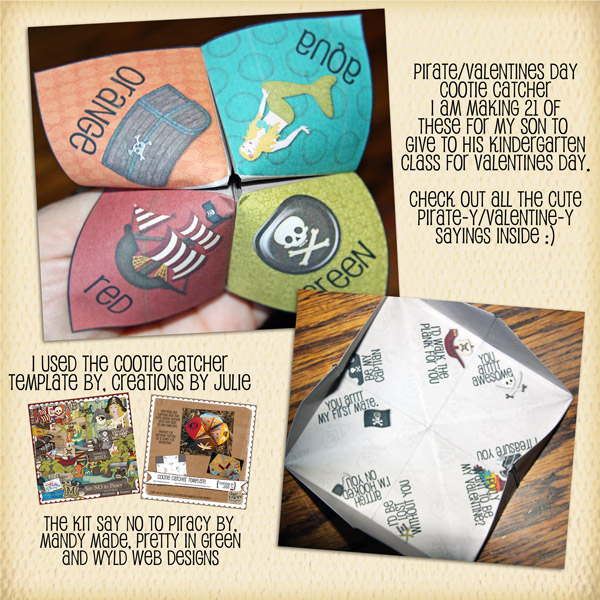Pirate Cootie Catcher for Valentines day