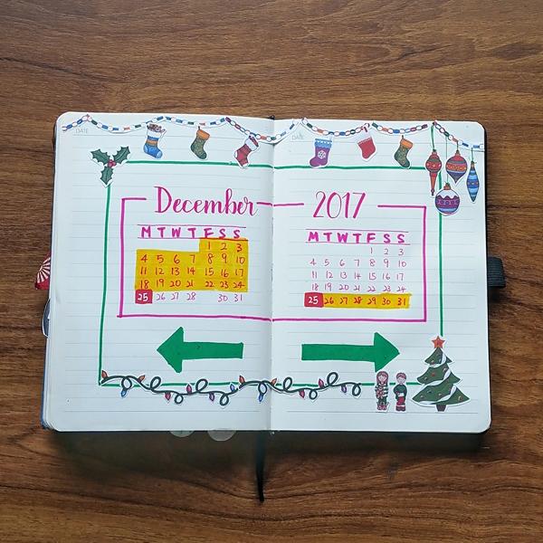My Calendar Spread for X'mas Week
