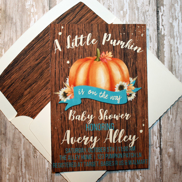 hybrid baby shower card with matching envelope