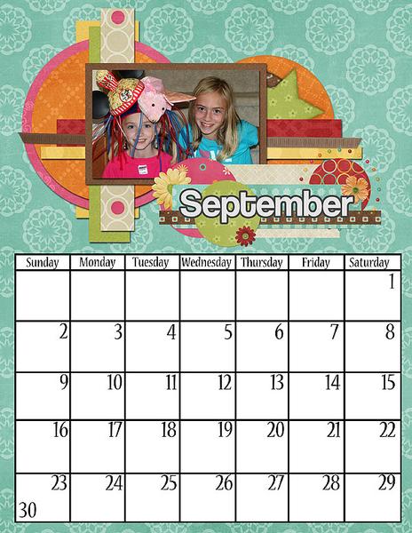 Sept 2012 Wall Calendar