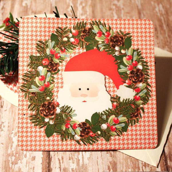 Wreath Santa Card