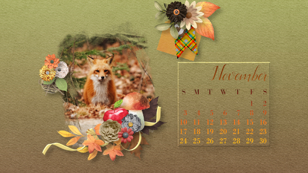 November 2019 calendar with fox picture from Unsplash