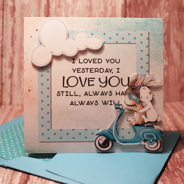 I Love You card with matching envie