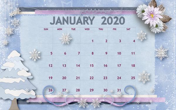 January 2020 Desktop Calendar