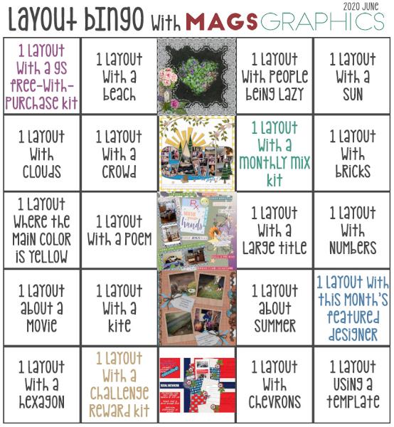 Karen's June 2020 layout bingo card