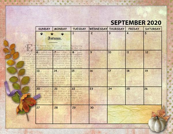 September 2020 Sum Up Calendar