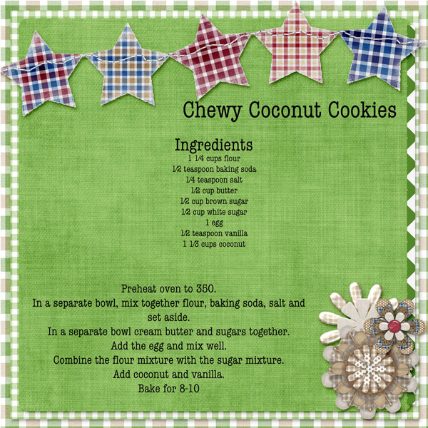 Recipe for Chewy Coconut Cookies