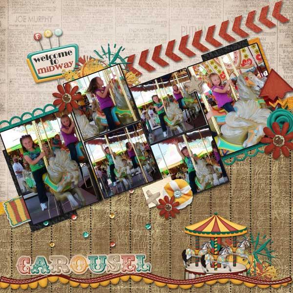 Girls Riding Carousel
