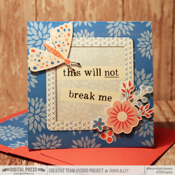 This Will Not Break Me card with matching envie