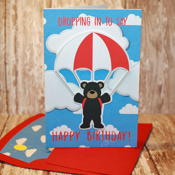 Dropping In Happy Birthday card