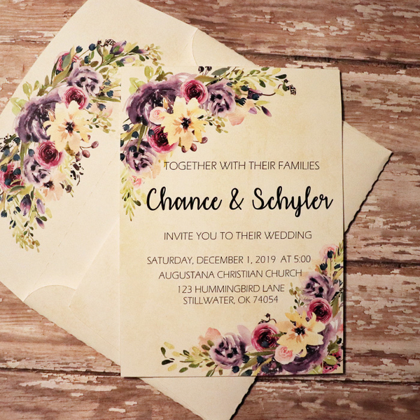 Wedding Invite with matching envie