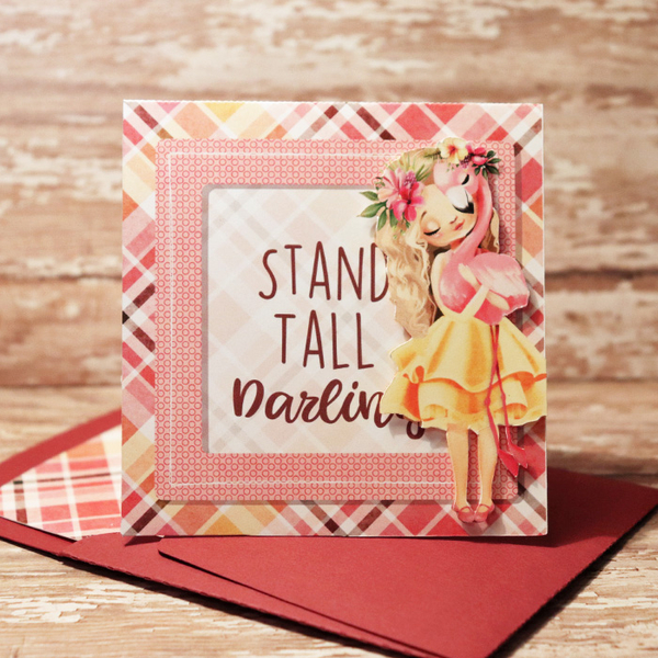 Stand Tall Darling card with matching envie