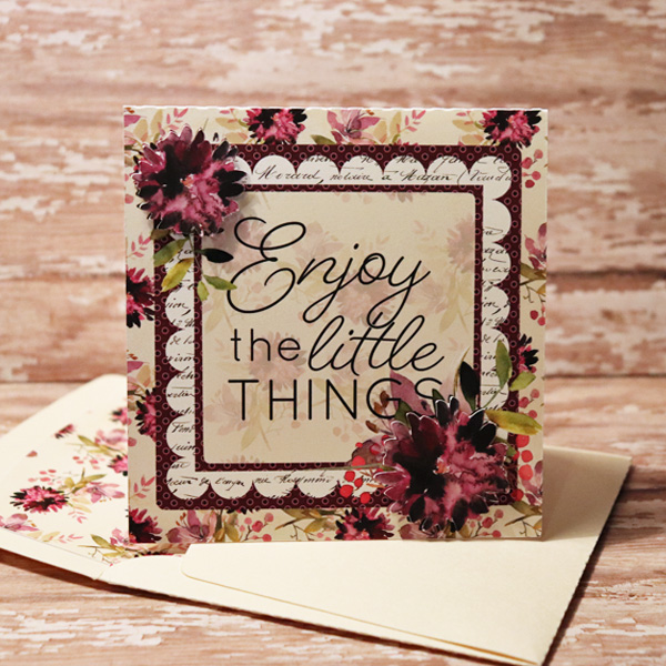 3d card with matching envies