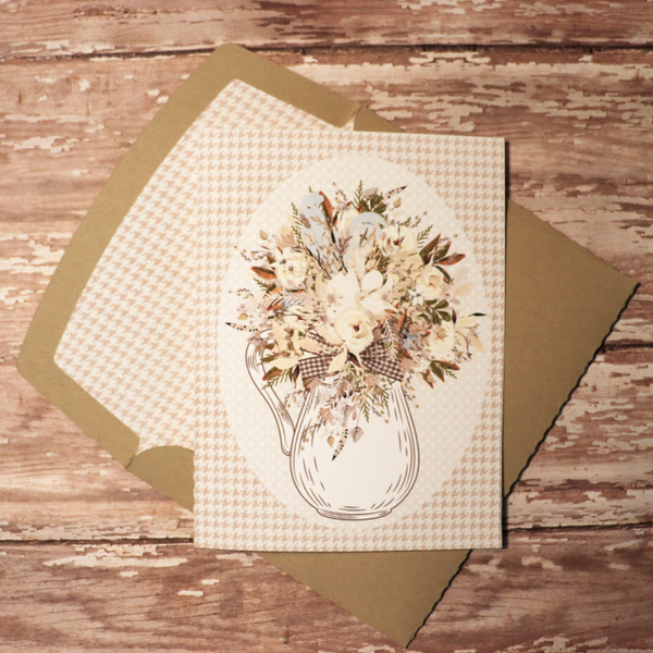 Farm House card with matching envie