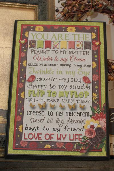 Love of my Life plaque