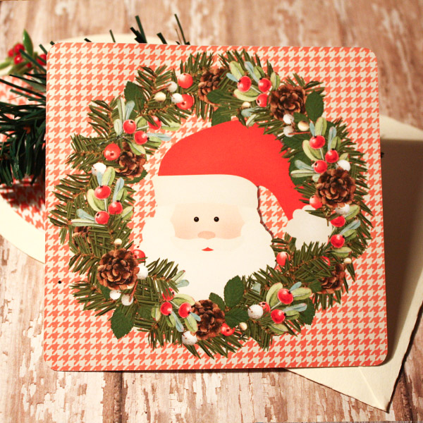 Wreath Santa Card