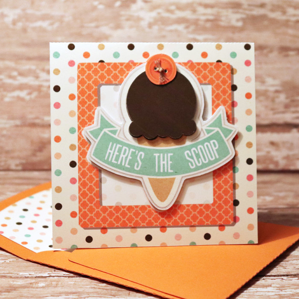 Here's The Scoop card with matching envie
