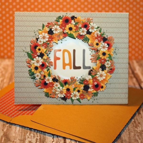 Golden Days Wreath card