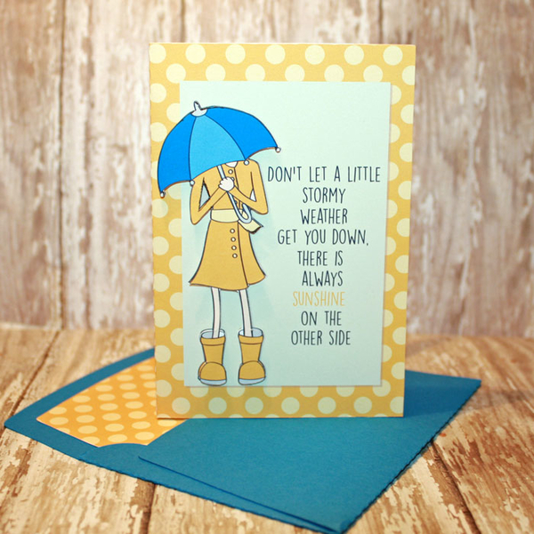 April Showers card with matching envie