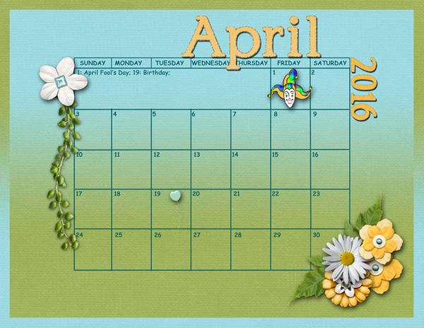 April Sum Up Calendar