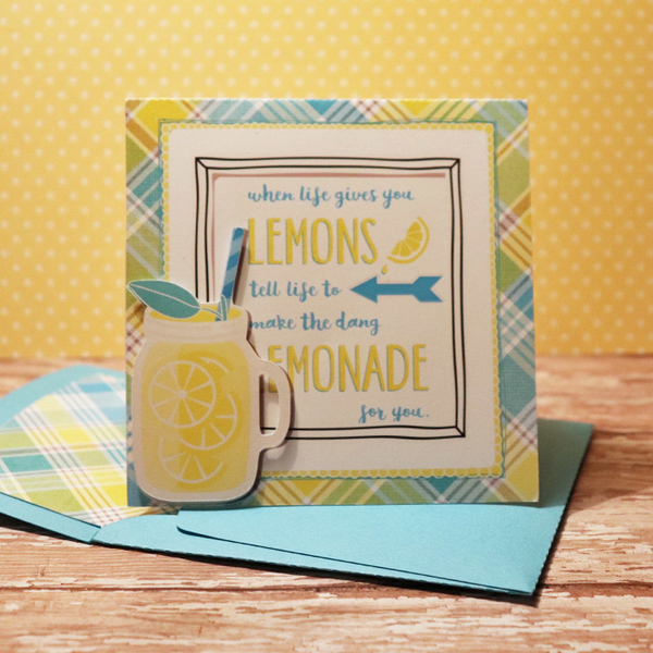 Lemonade card with matching envie
